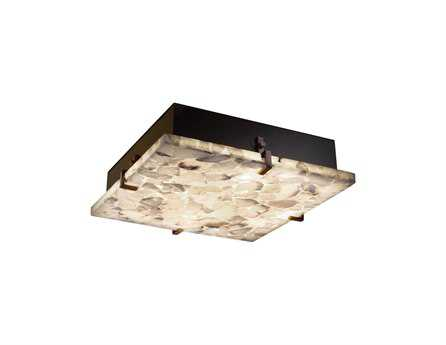 Justice Design Group Alabaster Rocks Clips Square Resin Six-Light ADA Wall Sconce - Flush Mount Light