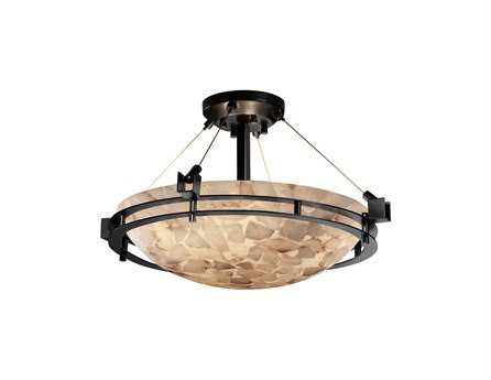 Justice Design Group Alabaster Rocks Metropolis Round Resin Three-Light Semi-Flush Mount Light Bowl