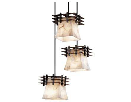 Justice Design Group Alabaster Rocks Metropolis Small Resin Three-Light Cluster Mini-Pendant