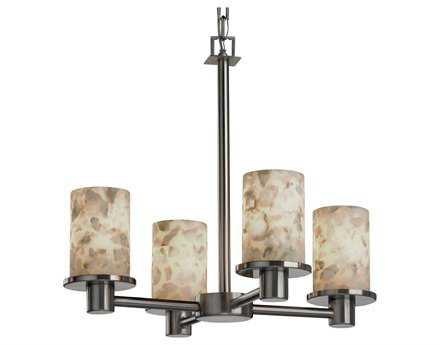 Justice Design Group Alabaster Rocks Rondo Resin Four-Light Mini Chandelier