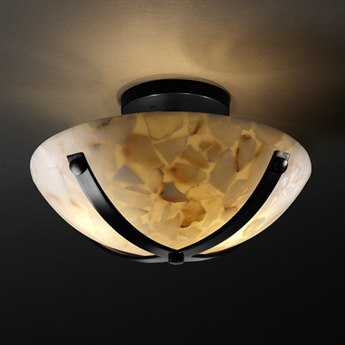Justice Design Group Alabaster Rocks Dakota Round Resin Bowl Semi-Flush Mount Light