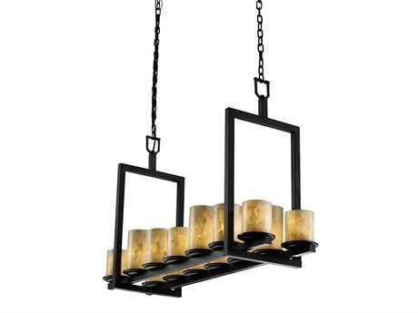 Justice Design Group Alabaster Rocks Dakota Resin 14-Light 13'' Wide Bridge Chandelier