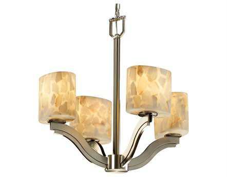 Justice Design Group Alabaster Rocks Bend Resin Four-Light Mini Chandelier