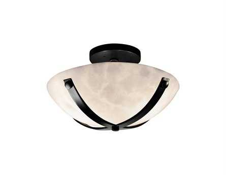 Justice Design Group Clouds Dakota Round Bowl Resin Two-Light Semi-Flush Mount Light