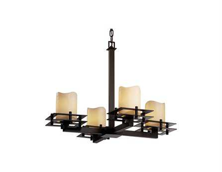 Justice Design Group Candlearia Metropolis Faux Candle Resin Four-Light Mini Chandelier