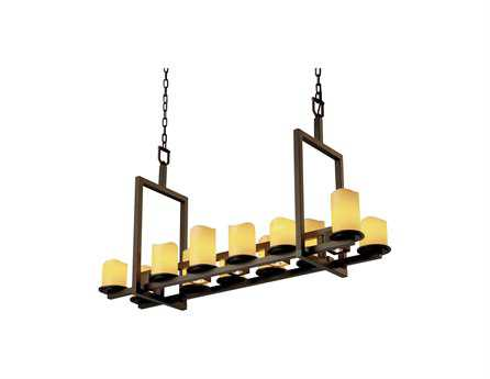 Justice Design Group Candlearia Dakota Faux Candle Resin 17-Light 13'' Wide Bridge Chandelier