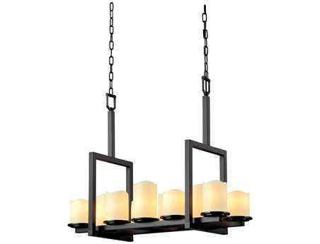 Justice Design Group Candlearia Dakota Faux Candle Resin Ten-Light 13'' Wide Bridge Chandelier