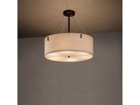 Justice Design Group Textile Finials 18'' Drum Pendant