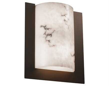 Justice Design Group Lumenaria Framed Rectangle 3-Sided Faux Alabaster Resin Two-Light ADA Wall Sconce