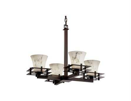 Justice Design Group Lumenaria Metropolis Faux Alabaster Resin Four-Light Mini Chandelier