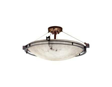 Justice Design Group Lumenaria Metropolis Round Faux Alabaster Resin Six-Light Semi-Flush Mount Light Bowl