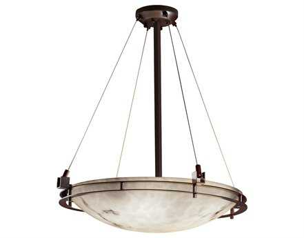 Justice Design Group Lumenaria Metropolis Round Faux Alabaster Resin Six-Light Pendant Bowl