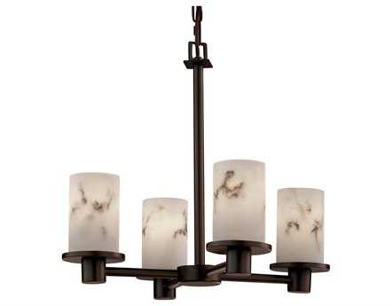 Justice Design Group Lumenaria Rondo Faux Alabaster Resin Four-Light Mini Chandelier