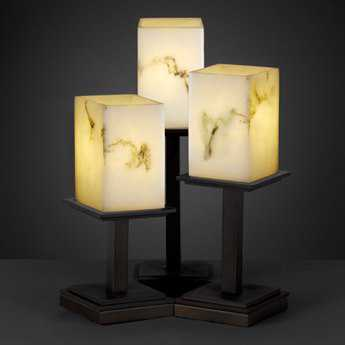 Justice Design Group Lumenaria Montana Faux Alabaster Resin Three-Light Table Lamp