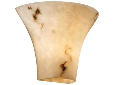 Justice Design Group Lumenaria Round Flared Large Faux Alabaster Resin Two-Light Wall Sconce