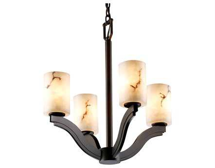 Justice Design Group Lumenaria Bend Faux Alabaster Resin Four-Light Mini Chandelier