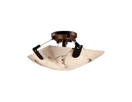 Justice Design Group Lumenaria Faux Alabaster Resin Two-Light Semi-Flush Mount Light Bowl With U-CLIPS