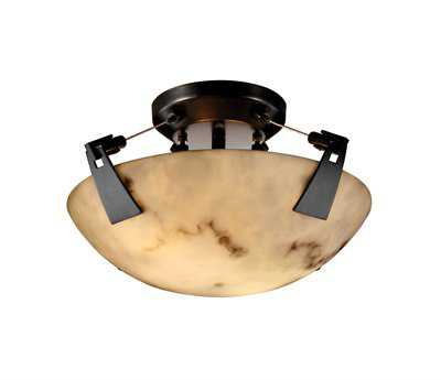 Justice Design Group Lumenaria Faux Alabaster Resin Two-Light Semi-Flush Mount Light Bowl With Tapered Clips