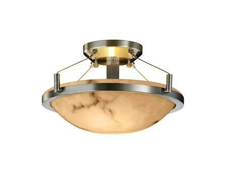 Justice Design Group Lumenaria Round Faux Alabaster Resin Two-Light Semi-Flush Mount Light Bowl With Ring
