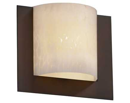 Justice Design Group Fusion Framed Square 3-Sided Artisan Glass ADA Wall Sconce - Flush Mount Light