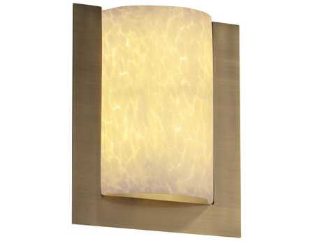 Justice Design Group Fusion Framed Rectangle 3-Sided Artisan Glass Two-Light ADA Wall Sconce - Flush Mount Light