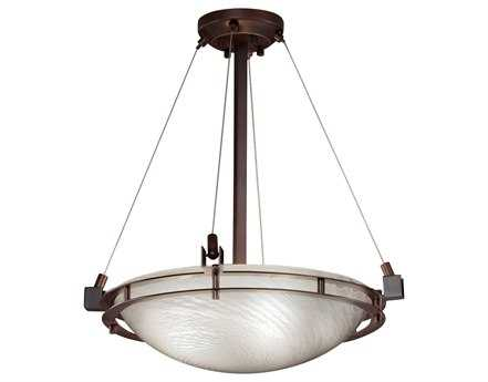 Justice Design Group Fusion Metropolis Round Artisan Glass Three-Light Pendant Bowl