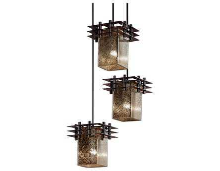 Justice Design Group Fusion Metropolis Artisan Glass Three-Light Cluster Mini-Pendant