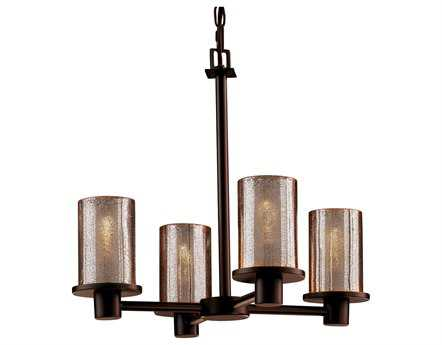 Justice Design Group Fusion Rondo Artisan Glass Four-Light Mini Chandelier