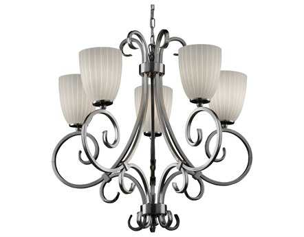 Justice Design Group Fusion Victoria Artisan Glass Five-Light Chandelier