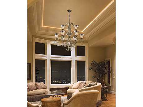 Justice design group fusion victoria artisan glass nine light chandelier