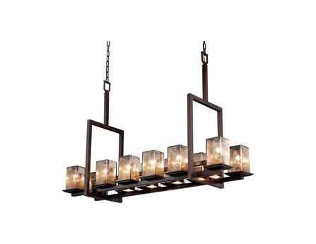 Justice Design Group Fusion Montana Artisan Glass 17-Light 14'' Wide Bridge Chandelier