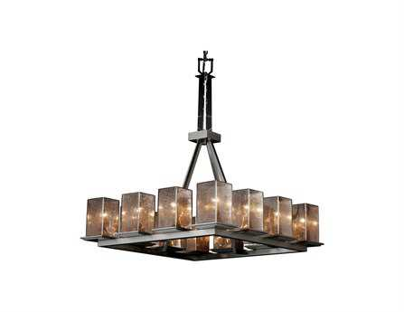 Justice Design Group Fusion Montana Artisan Glass 12-Light 29'' Wide Ring Chandelier