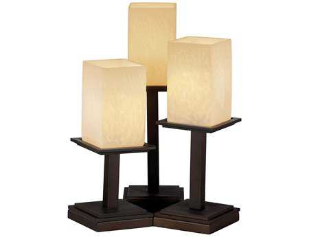 Justice Design Group Fusion Montana Artisan Glass Three-Light Table Lamp