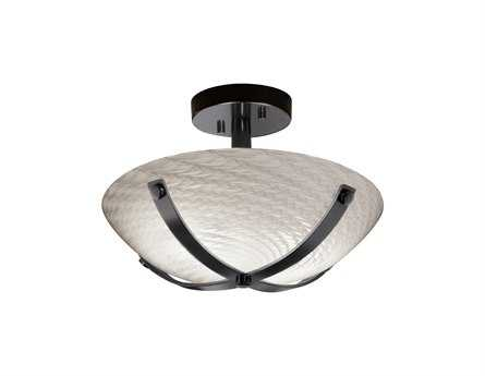 Justice Design Group Fusion Dakota Round Bowl Artisan Glass Two-Light Semi-Flush Mount Light