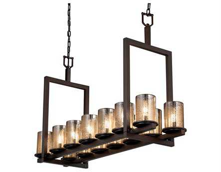 Justice Design Group Fusion Dakota Artisan Glass 14-Light 13'' Wide Bridge Chandelier