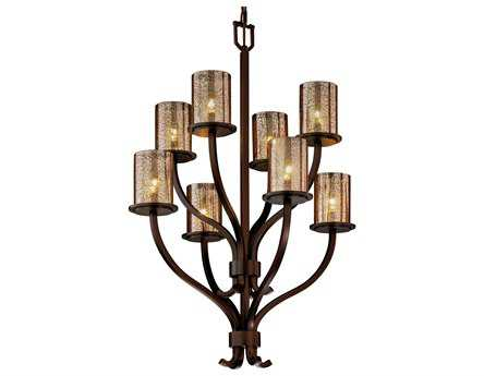 Justice Design Group Fusion Sonoma Artisan Glass Eight-Light Chandelier