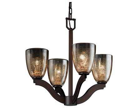 Justice Design Group Fusion Bend Artisan Glass Four-Light Mini Chandelier