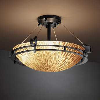 Justice Design Group Veneto Luce Metropolis Round Venetian Glass Three-Light Semi-Flush Mount Light Bowl