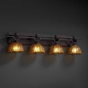Justice Design Group Veneto Luce Argyle Venetian Glass Four-Light Bath Bar Light