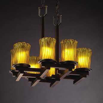 Justice Design Group Veneto Luce Dakota Venetian Glass Eight-Light Zig-Zag Mini Chandelier