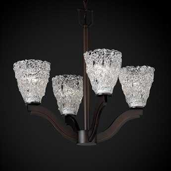 Justice Design Group Veneto Luce Bend Venetian Glass Four-Light Mini Chandelier