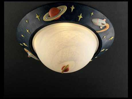 Justice Design Group Kids Room Rocket Ship Ceramic Two-Light Flush-Mount Light