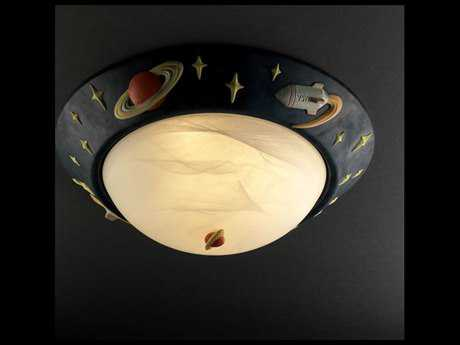 Justice Design Group Kids Room Rocket Ship Ceramic Three-Light Flush-Mount Light