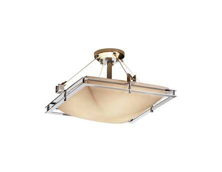 Justice Design Group Porcelina Metropolis Square Faux Porcelain Resin Semi-Flush Mount Light Bowl
