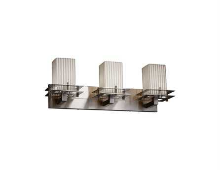 Justice Design Group Limoges Metropolis Translucent Porcelain Three-Light Bath Bar Light