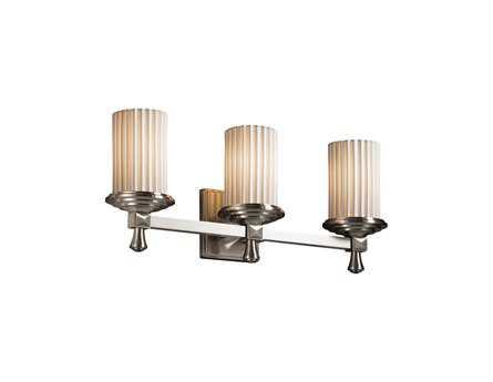 Justice Design Group Limoges Deco Translucent Porcelain Three-Light Bath Bar Light