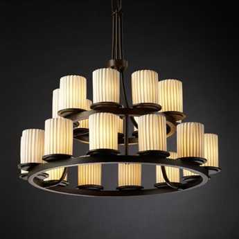 Justice Design Group Limoges Dakota Translucent Porcelain 21-Light Ring Chandelier