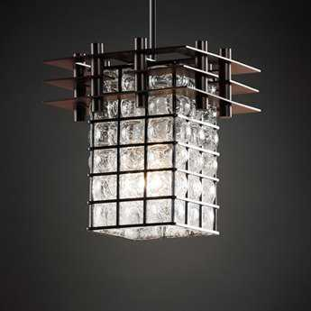 Justice Design Group Wire Glass Metropolis Cage With Blown Mini-Pendant
