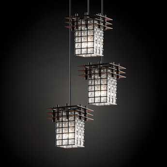Justice Design Group Wire Glass Metropolis Cage With Blown Three-Light Cluster Mini-Pendant