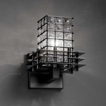 Justice Design Group Wire Glass Metropolis Cage With Blown Wall Sconce